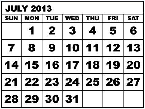 Calendar July 2013 6 Best Images Of July 2013 Calendar Printable Template