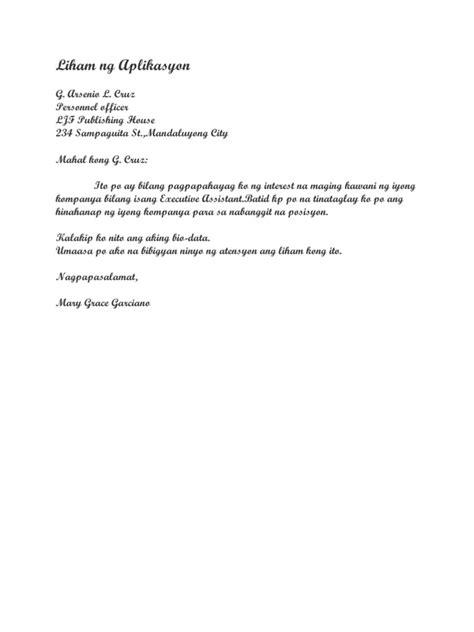 Application Letter Halimbawa Liham Ng Aplikasyon