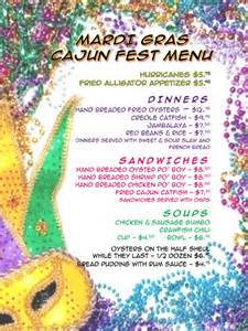 mardi gras dinner menu mardi gras menu