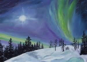 Large Home Plans northern lights painting by sandra schizkoske