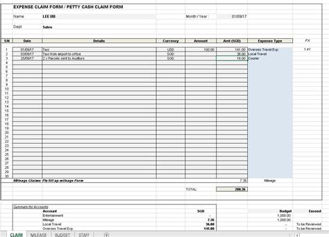 Expense Claim Template by Expense Claim Template Excel4routine