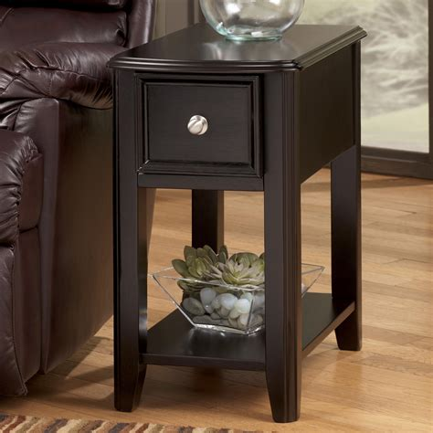 ashley furniture accent tables dark brown contemporary carlyle chairside end table by