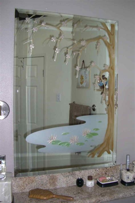 etched bathroom mirror cherry blossom tree decorative mirrors sans soucie