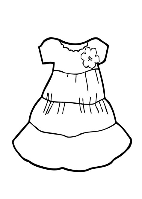 Coloring Pages For Dress | light dress coloring page for girls printable free