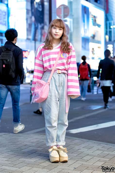 Import Handbag Stripe Korean Japan Style Branded Model Tas Tangan pink harajuku style w neon moon fancy tokyo bopper