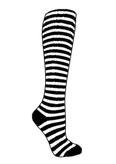 sock black and white clipart striped sock