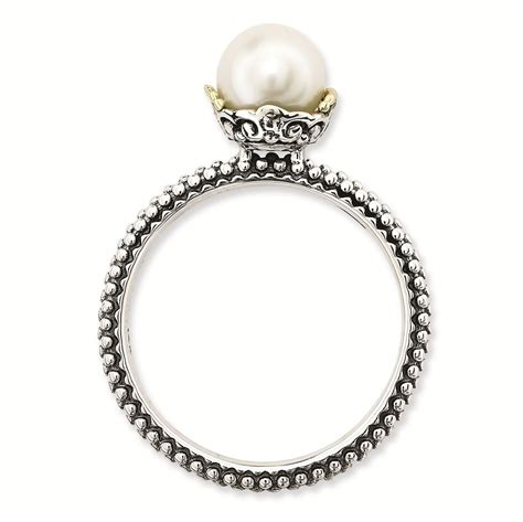 carinagems silver ring antiqued white freshwater pearl
