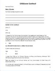 Babysitting Contract Template by Child Care Contract Template For Ms Word Document Hub