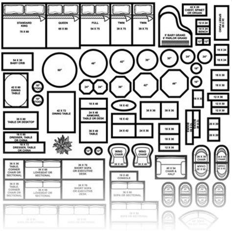 printable furniture templates 1 4 inch scale build