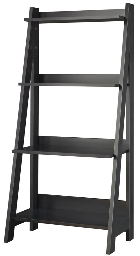ladder bookcase black alamosa classic black ladder bookcase my72716 03 bush