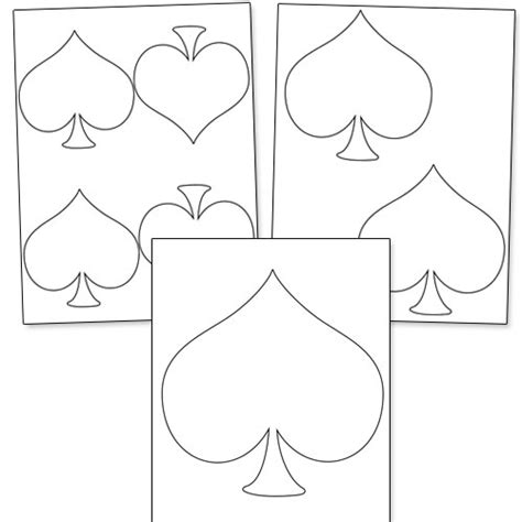 spade card template spade shape printable from printabletreats shapes