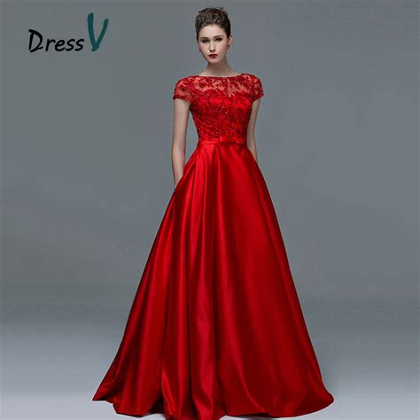 Elegant Red Lace Short Sleeves Evening Dresses 2015 Sexy A