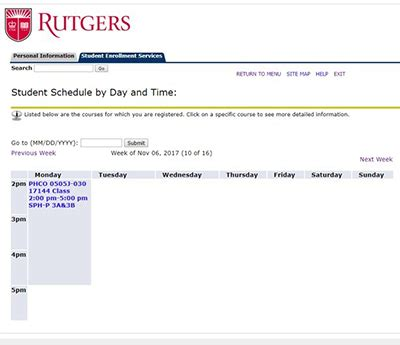Rutgers Mba Who To Contact For Class Registration by View Your Personal Course Schedule
