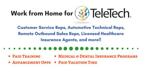 work from home for teletech hiring now for a variety of