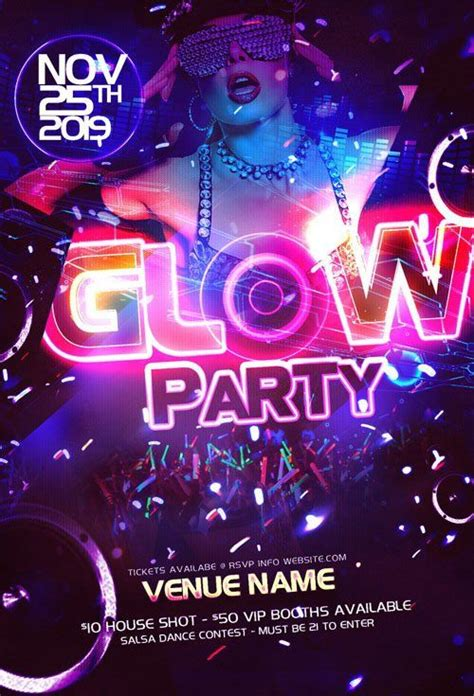 Glow Party Flyer Party Flyer Template Psd Neon Glow Nitrogfx Download Unique Effect Neon Flyer Template Free