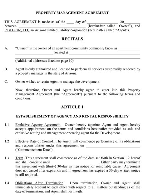 Property Management Contract Management Agreement Template