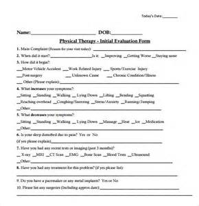 physical therapy evaluation template doc 580600 sle physical therapy evaluation sle