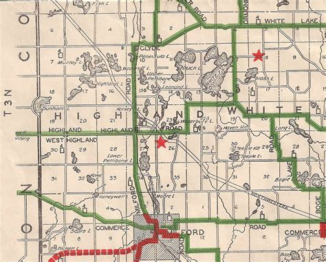 Oakland County Records 1928 29 Oakland County Road Map