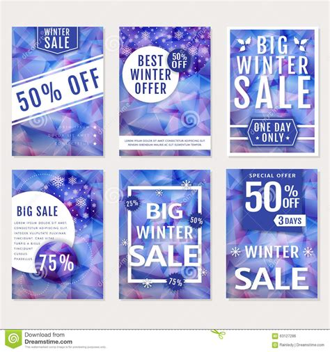 Winter Sale Banners Vector Set Stock Vector Image 63127286 Winter Banner Templates