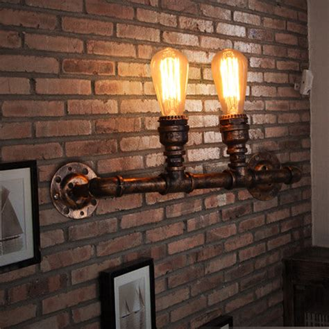 antique silver industrial style wall light with well glass shade b012 nordic loft style industrial water pipe l vintage
