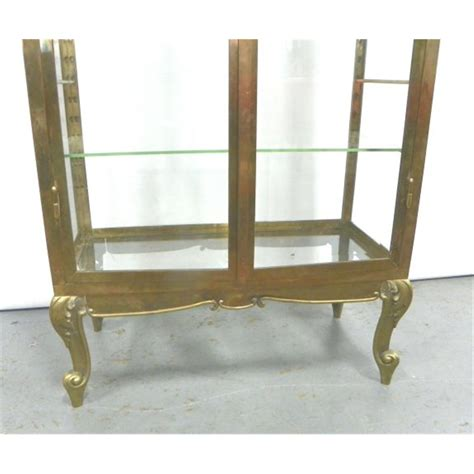 brass and glass display cabinet mid century brass glass curio display cabinet