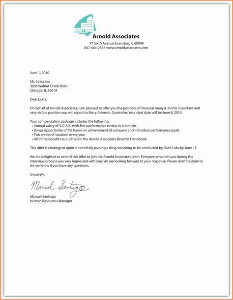 offer of employment letter 7 employment letter sle marital settlements information 1518