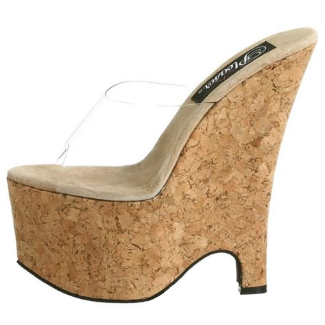 Wedges 5cm 16 transparent 16 5 cm pleaser beau 601 cork platform wedge mules shop