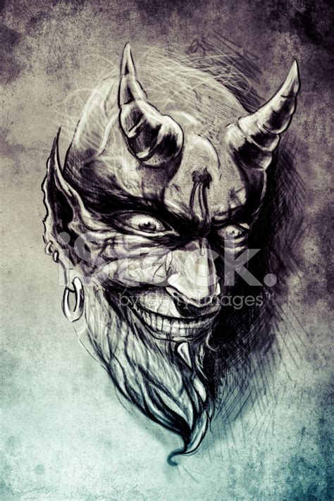 tattoo devil illustration handmade draw over vintage