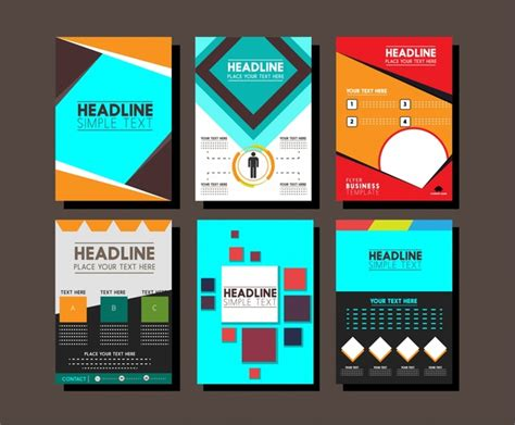 brochure design templates collection layout free vector in