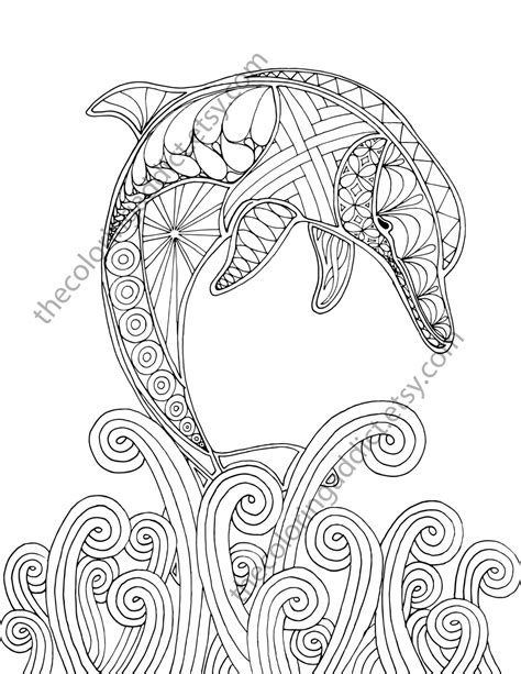 dolphin coloring page pdf dolphin coloring page adult coloring sheet by