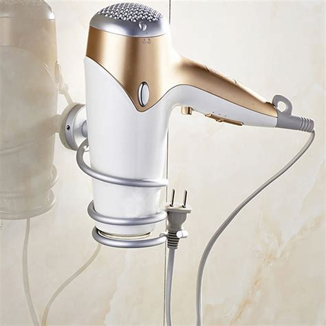 bathroom tail salon chrome bathroom wall mounted hair dryer holder rack
