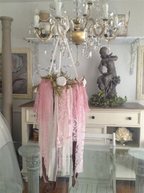 Rustic Wedding Decor, Vintage Lace Chandelier, Shabby Chic