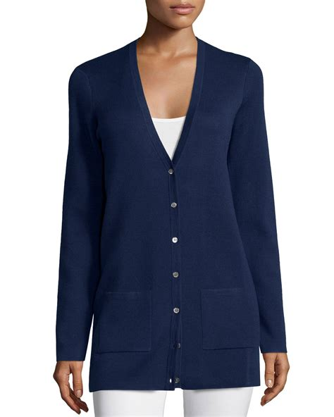 buttons pockets lyst michael kors button front cashmere cardigan with
