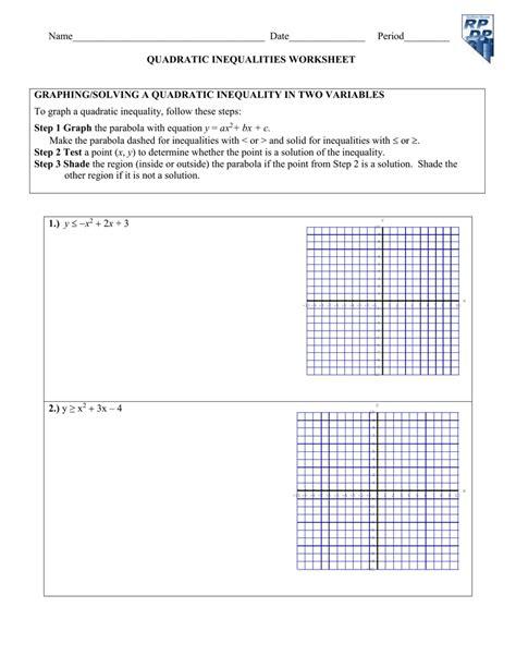 Quadratic Inequalities Worksheet by Uncategorized Quadratic Inequalities Worksheet