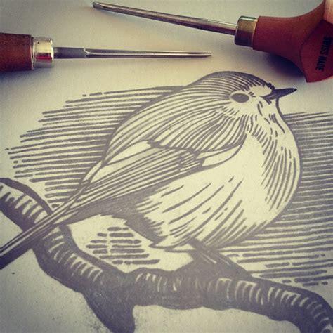 Cetakan Lontong Shopee robin linocut on behance