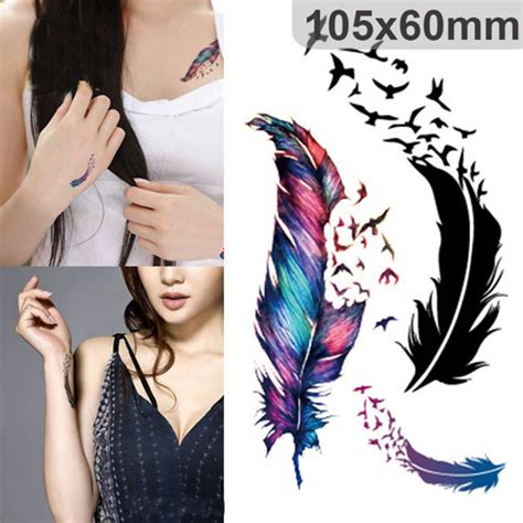 flash tattoo vogue fashion temporary tattoos colorful geese feathers for