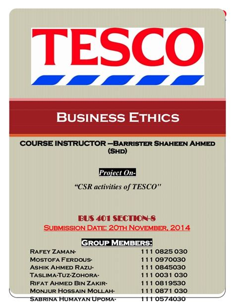 Mba Project On Business Ethics by Tesco Report 401