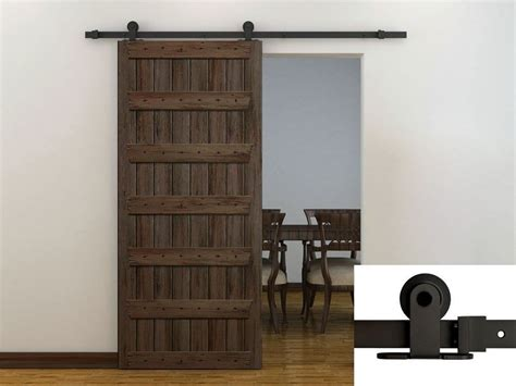 6ft Dark Coffee Modern European Style Barn Wood Sliding Barn Style Sliding Door Hardware
