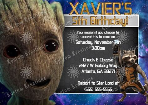 401 Best All Birthday Invitations Images On Pinterest Baseball Birthday Invitations Mlb Guardians Of The Galaxy Invitation Template