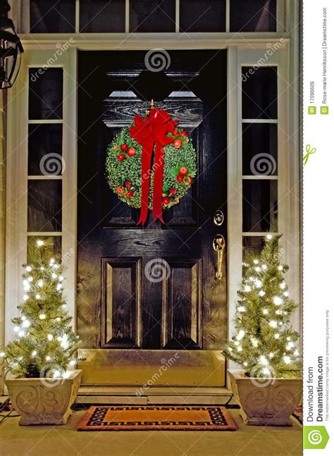 christmas decorated front door royalty  stock images image