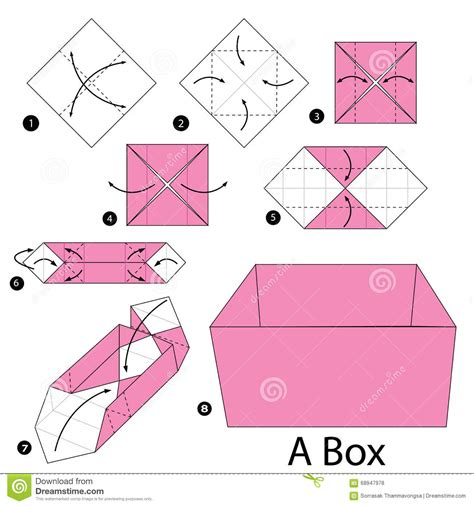 Origami Step By Step - step by step how to make origami a box stock