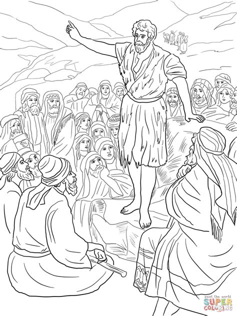 printable coloring pages john the baptist john the baptist preaching in the wilderness coloring page