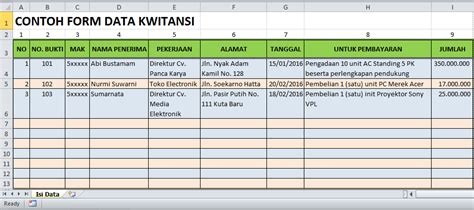 membuat form pengisian tabel data di excel 2007 cara membuat rumus kwitansi excel blog tutorial