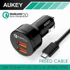 Mg Aukey Usb Car Charger 2 Port 36w With Qualcomm Charge 2 0 M aukey fast charging qc 2 0 36w 2 ports usb car charger adapter dual turbo rapid port for car for