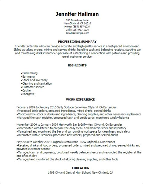 professional bartender resume templates to showcase your talent myperfectresume