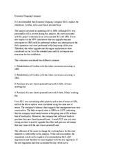 Economy Shipping Company Summary - Economy Shipping