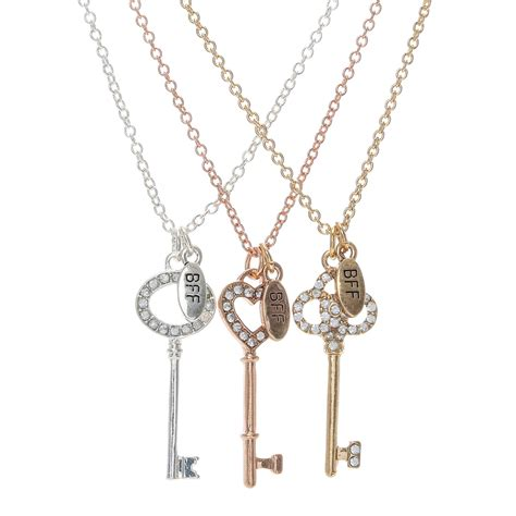 best for 3 pack 3 best friends forever key charm necklaces s us