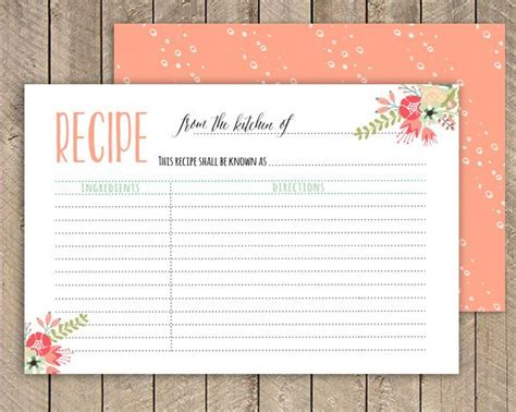 wedding shower recipe card template bridal shower recipe card printable recipe card 4x6 instant