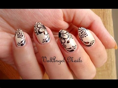 tutorial nail art pakai henna nail art tutorial quot mehndi quot youtube