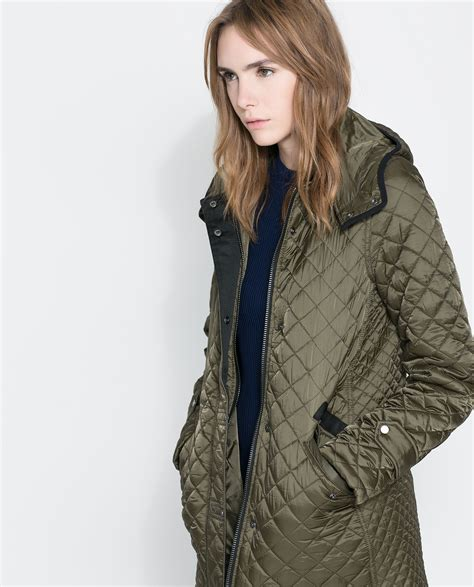 Zara Quilted Coat With by Zara Quilted Coat With In Green Lyst